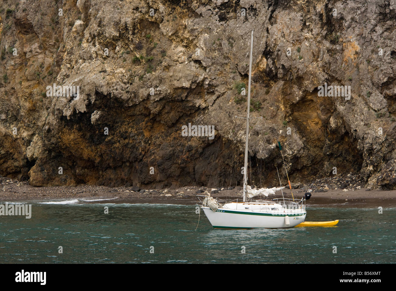 Anchored sailboat in the Channel Island - Stock Image