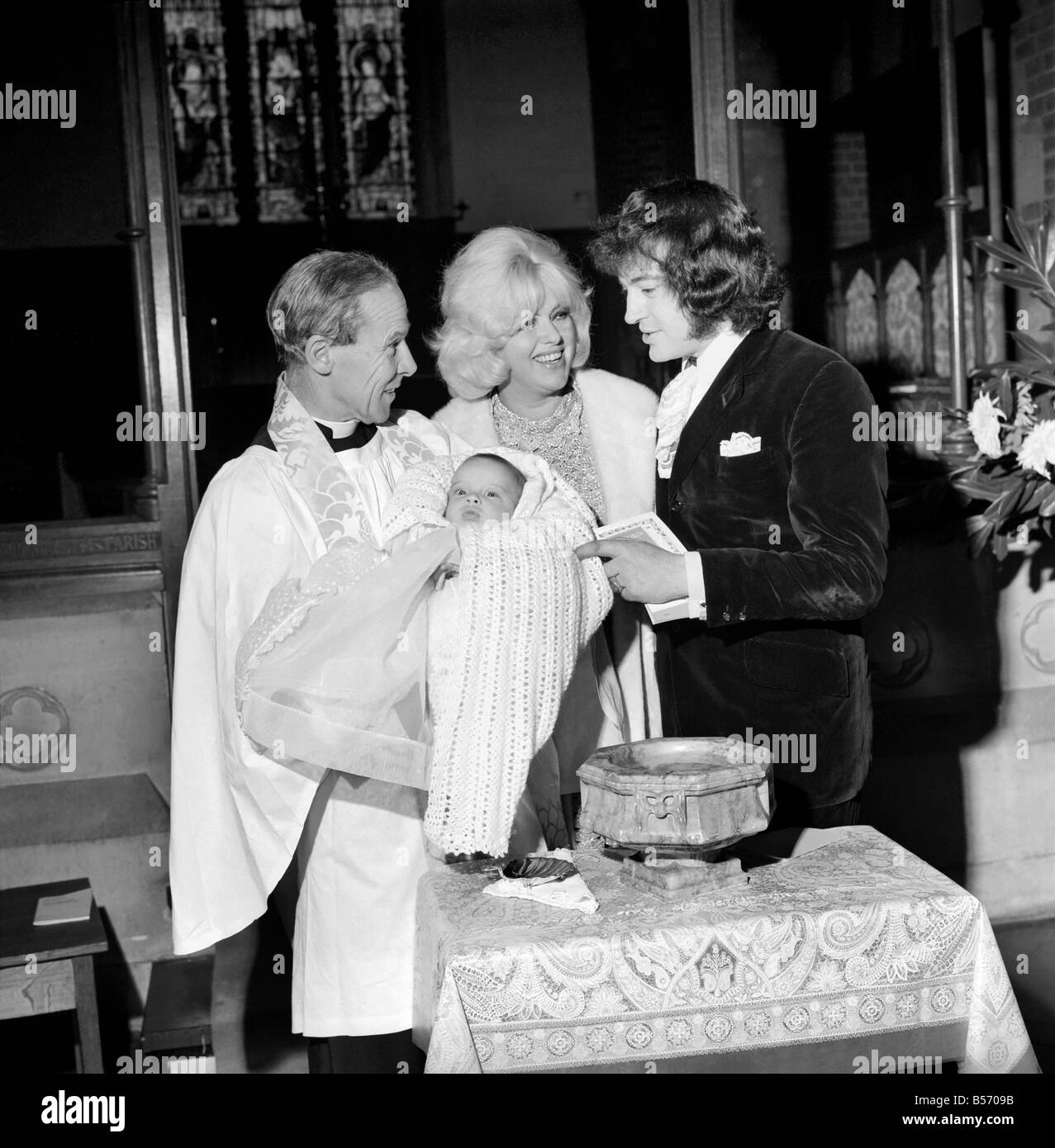 Diana Dors And Her Husband Alan Lake At The Christening Of