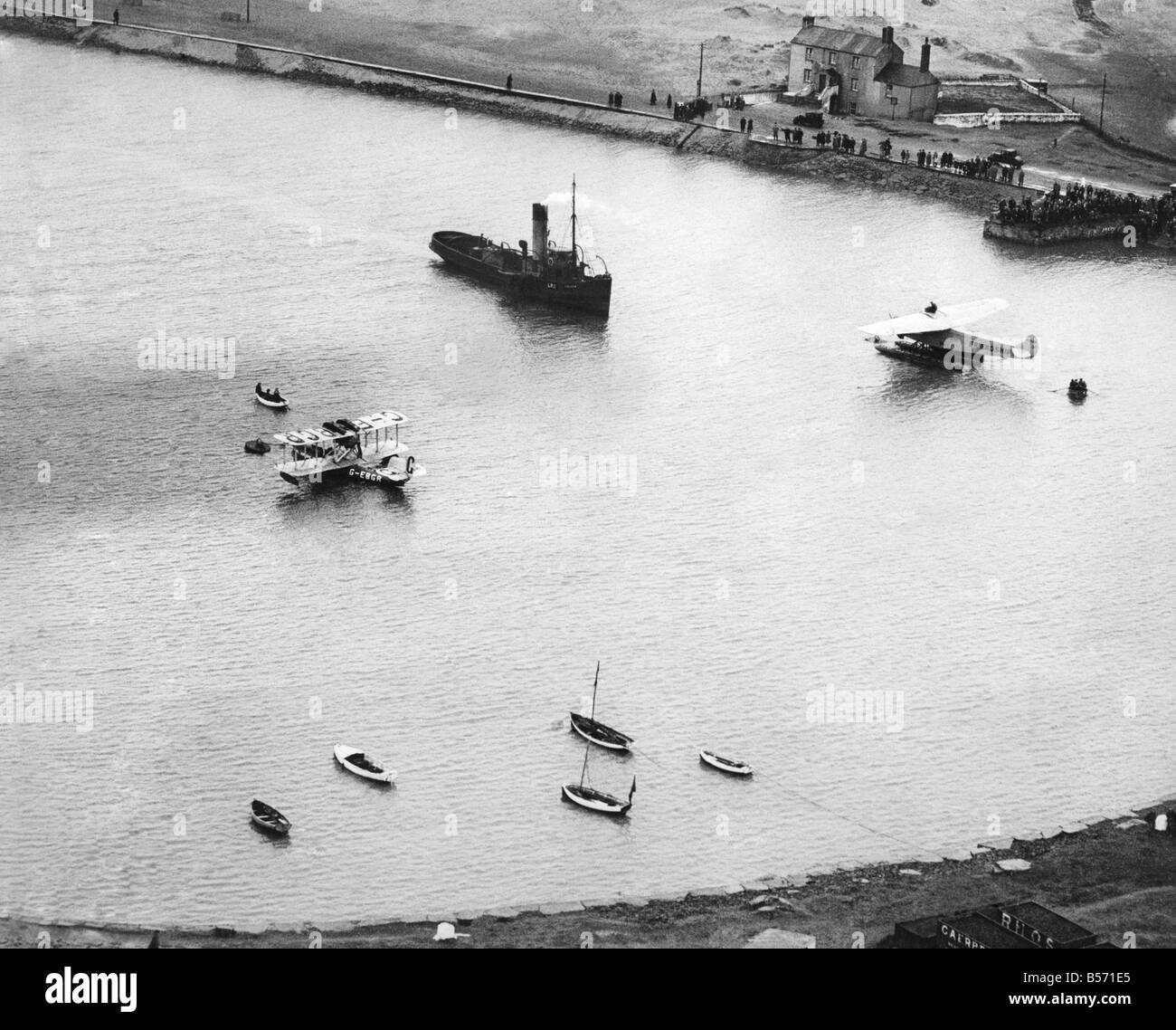 Amelia Earhart, the first woman to fly across the Atlantic Ocean. The friendship anchored at Burry Point, Carmarthenshire, - Stock Image