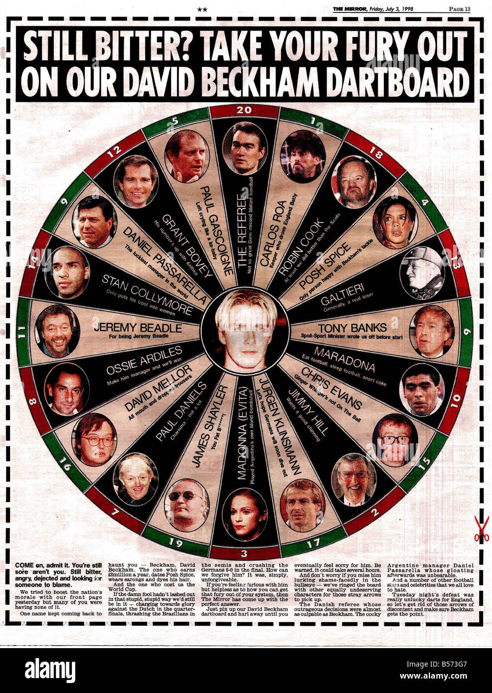 Daily Mirror Pages 03071998 Still Bitter? Take your fury out on our David Beckham dartboard David Neckham world - Stock Image