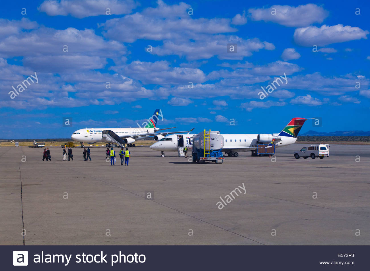 South African Airways and Air Namibia jets on the tarmac at Windhoek International Airport Namibia - Stock Image
