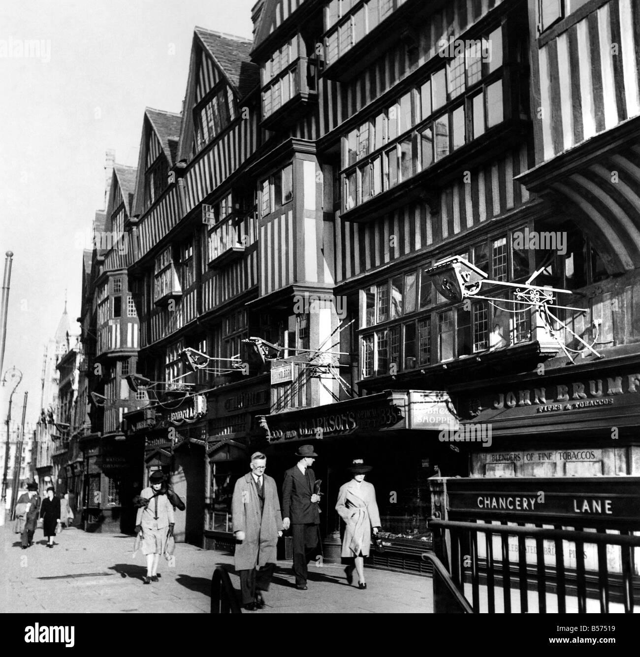 Staple Inn, Holborn one of the few genuine mediaeval buildings left in London. Staple Inn is one of the quietest - Stock Image