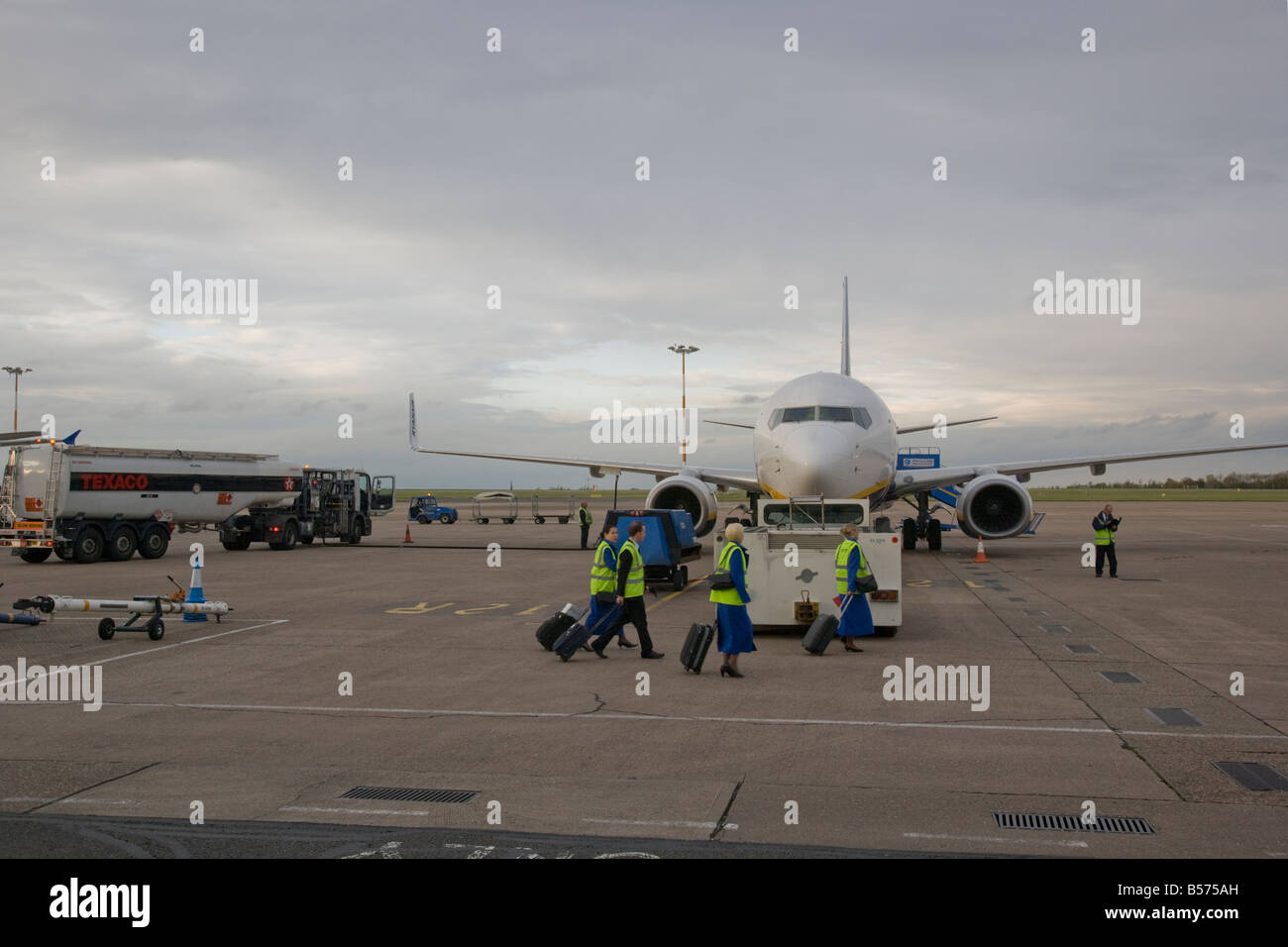 ryanair plane on the tarmac at East Midlands airport  Leicestershire, England - Stock Image