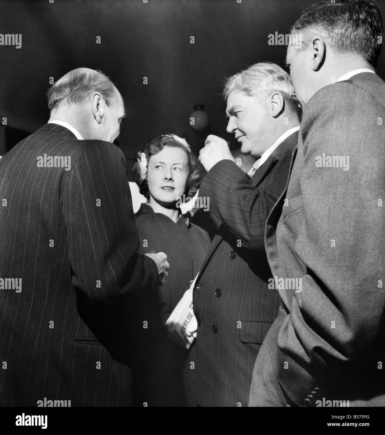 Labour Party Conference 1953: Clement Attlee seen here with Barbara Castle, Nye Bevan and Harold Wilson. September - Stock Image