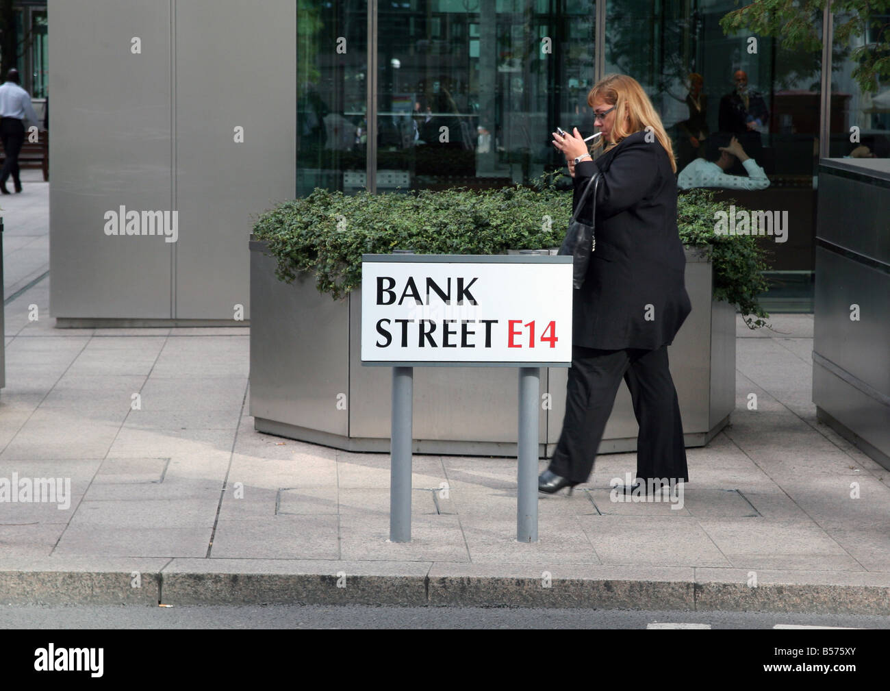 Stressful times on Bank Street in Canary Wharf London - Stock Image