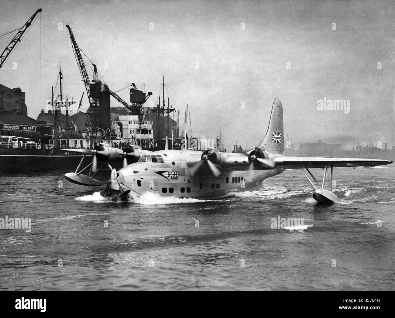 The Short S.45 Solent 2 the last of the large flying boats flown by BOAC on overseas routes.  It first flew in 1946 - Stock Image