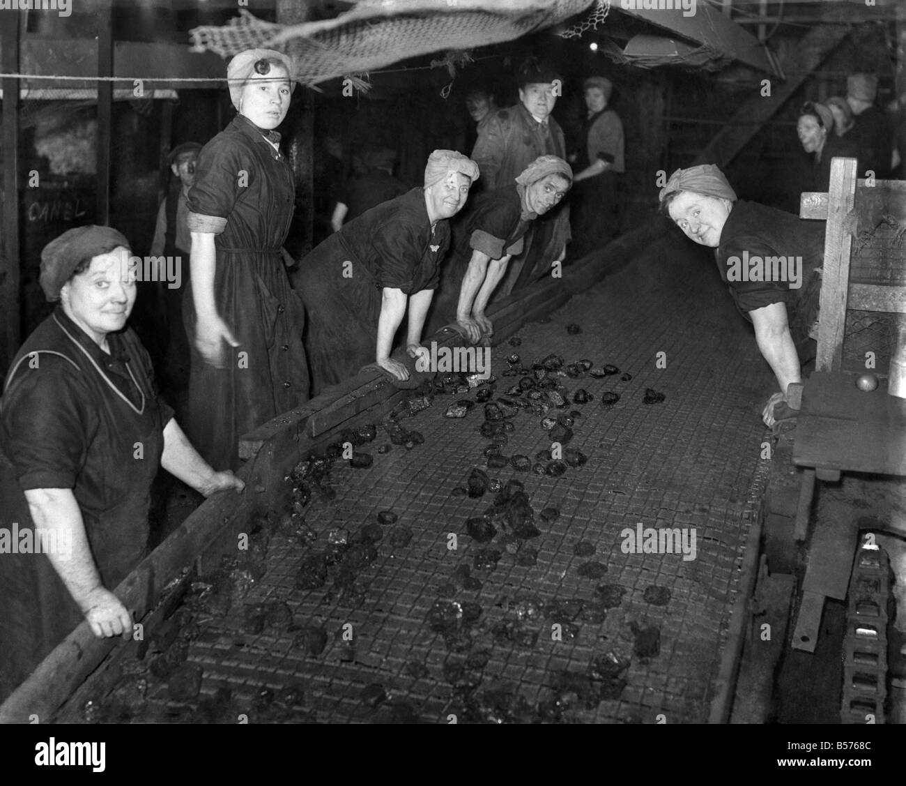 The Last of their Line.1. The pit-brow lasses are to leave Giants Hall Colliery, Standish. They will no longer be - Stock Image