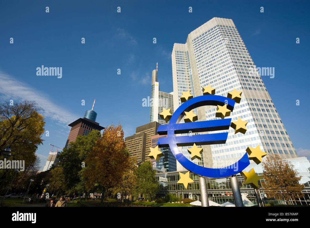 European currency symbol in front of the Eurotower, building of the European Central Bank, ECB, at Frankfurt, Germany - Stock Image