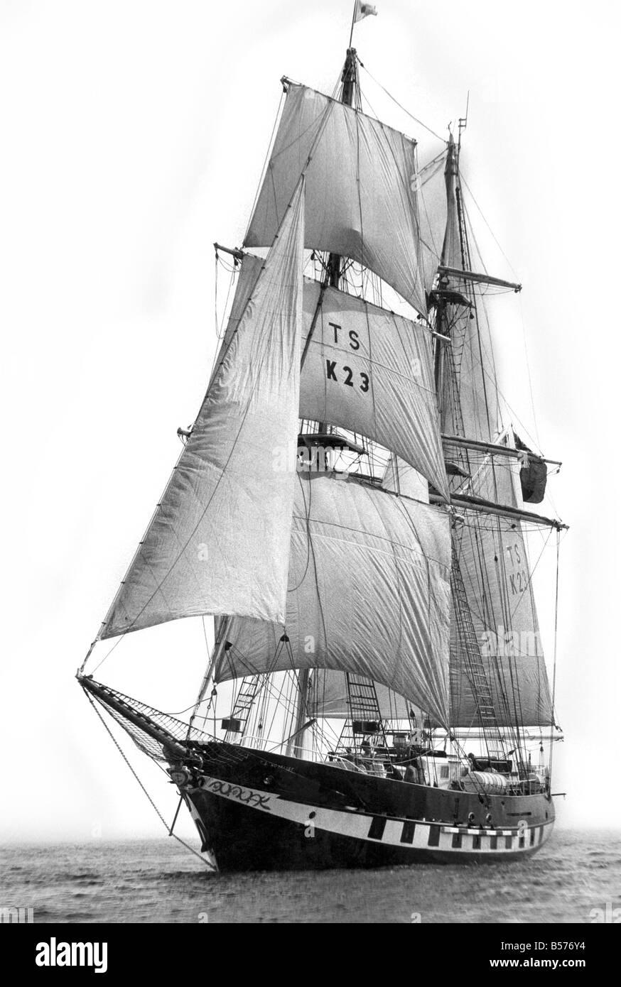 Sail training Ship Royalist. March 1976 P005224 - Stock Image