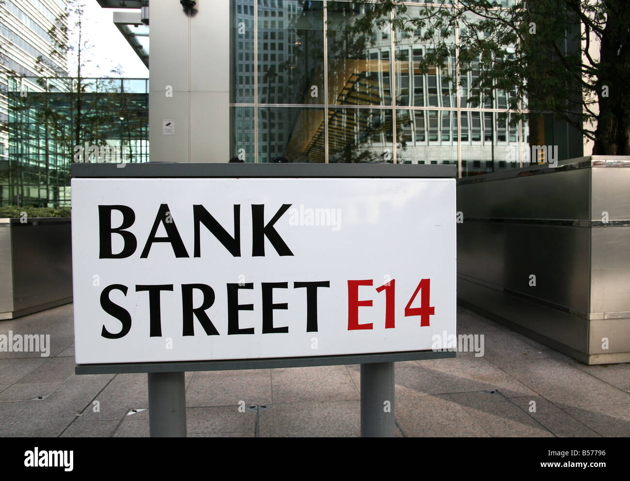 Bank Street Canary Wharf London is home to Lehman Bros among others - Stock Image