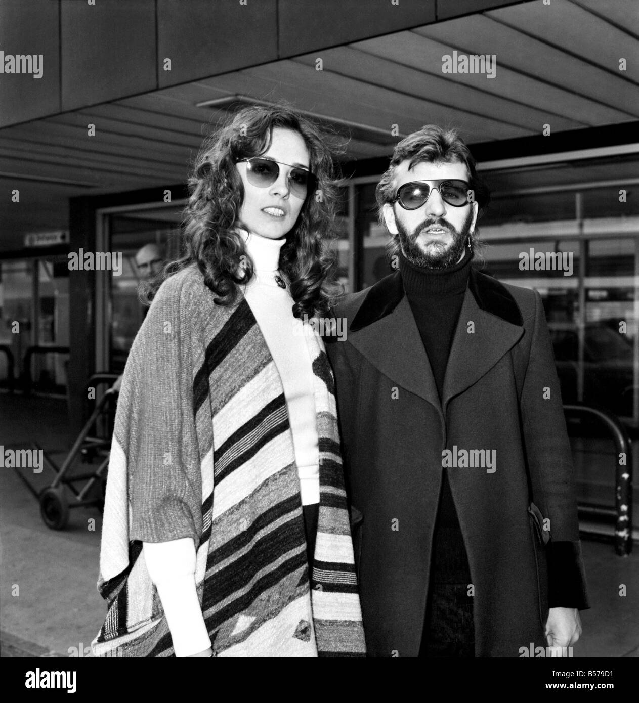 Former Beatle Ringo Starr And Girlfriend Nancy Andrews Seen Here At London Airport February 1975