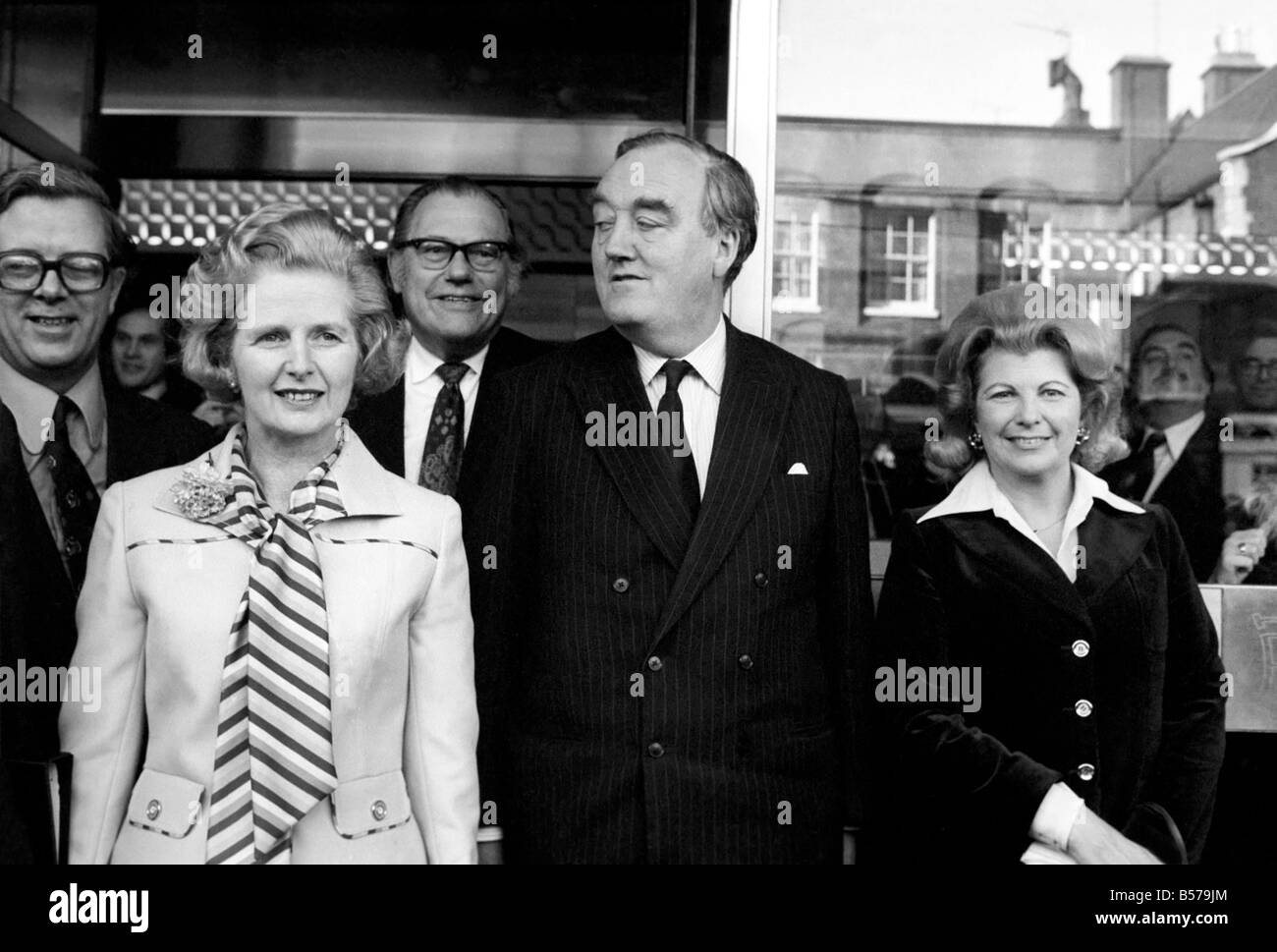 Tory Peers and M.Ps. at Europa Hotel to acclaim Mrs. Margaret Thatcher (2nd Left) as leader of party. Geoffrey Howe - Stock Image