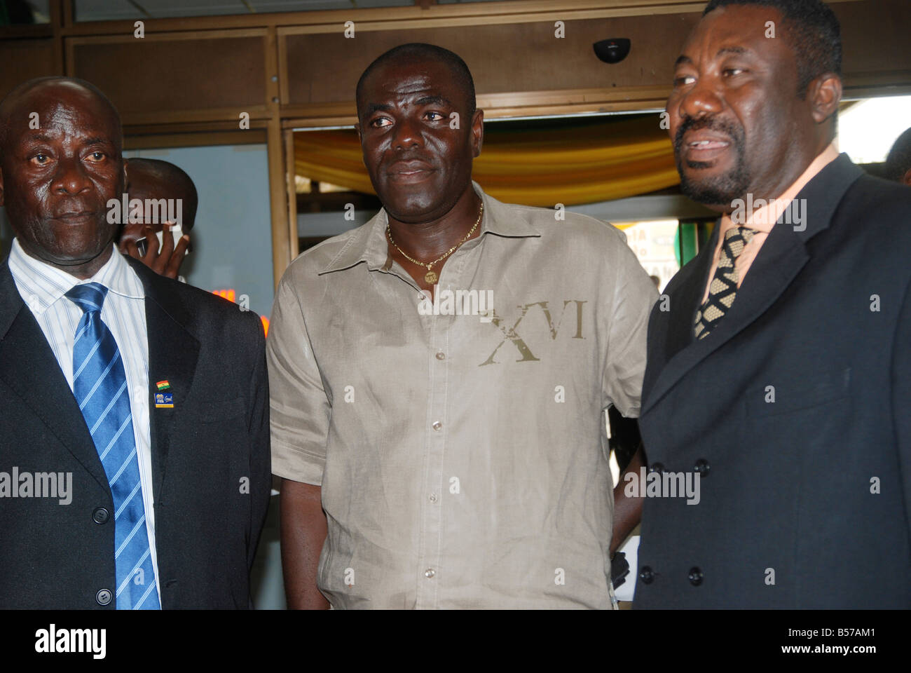 Silas Tetteh (middle) assistant coach of the Ghana Black Stars, during the CAN 2008 official draws in Accra, October - Stock Image