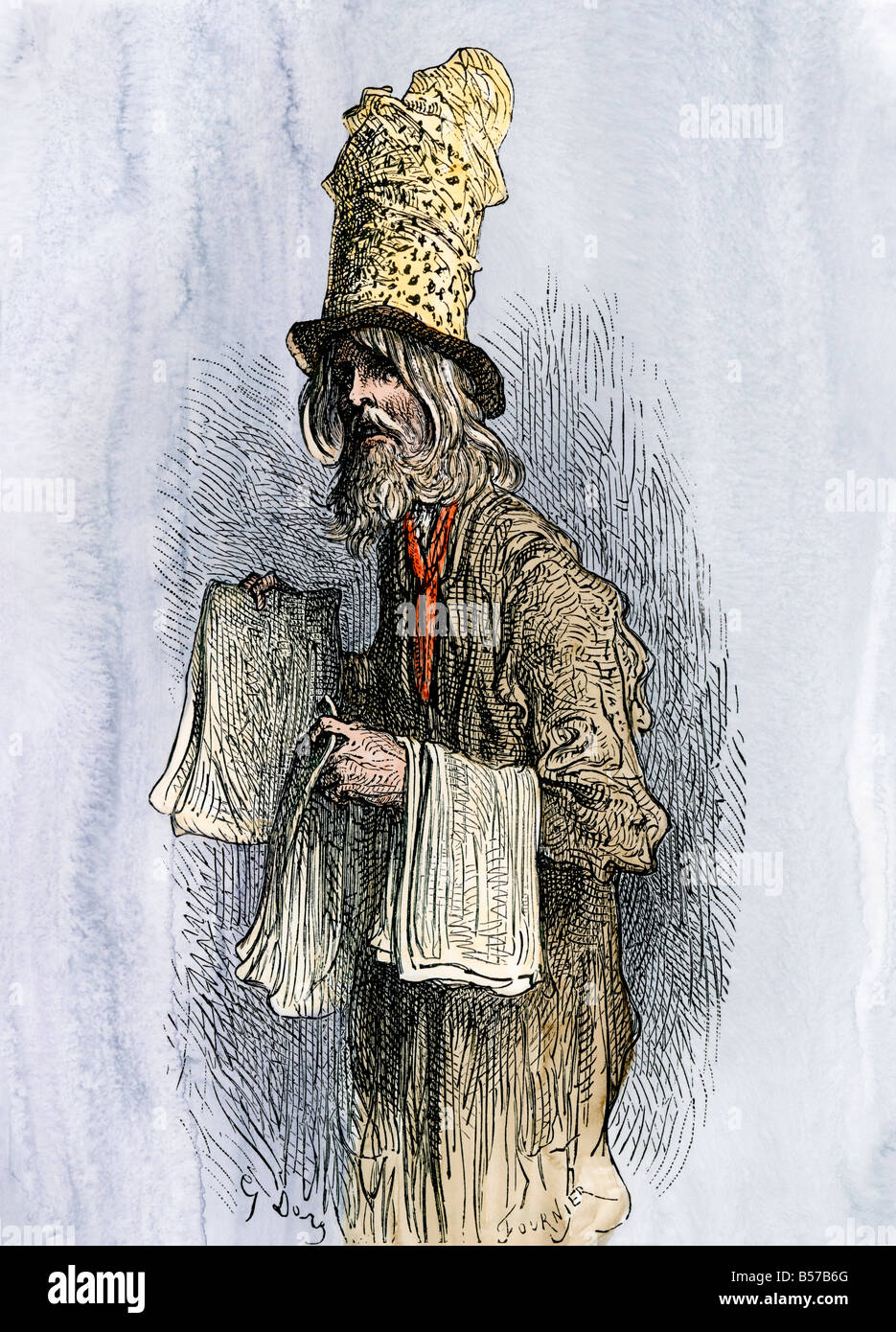Peddler on a street in London 1800s. Hand-colored woodcut of a Gustave Dore illustration - Stock Image