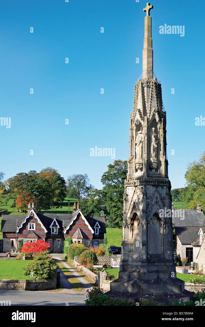 Ilam, memorial cross, Peak District National Park, Staffordshire,UK - Stock Image
