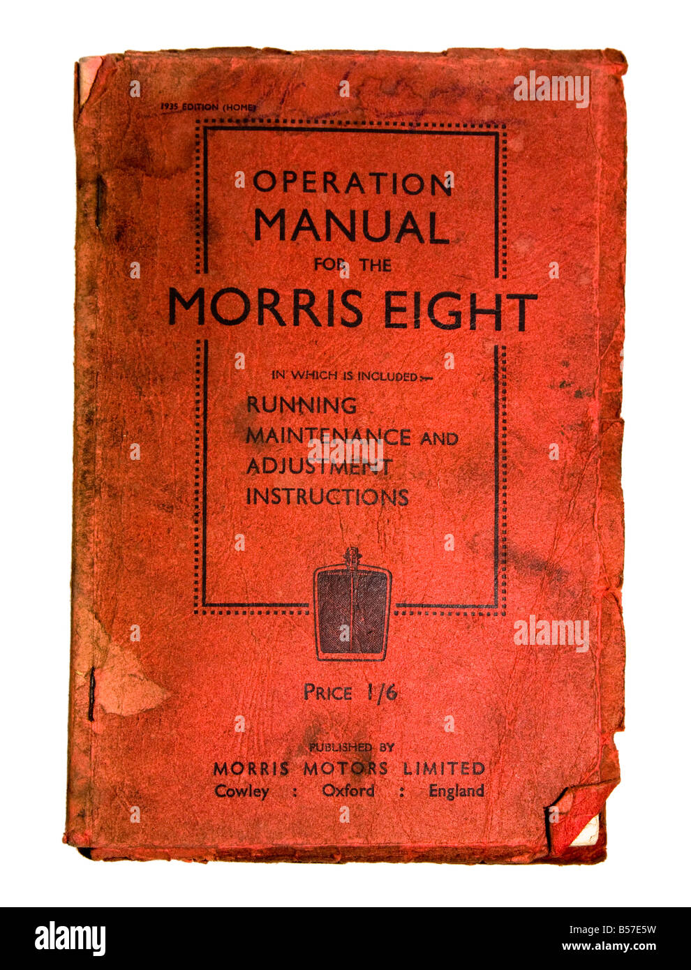 Operation manual for Morris Eight car 1935 - Stock Image