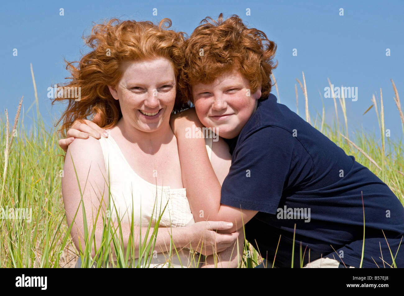 Mother and teenage son - Stock Image