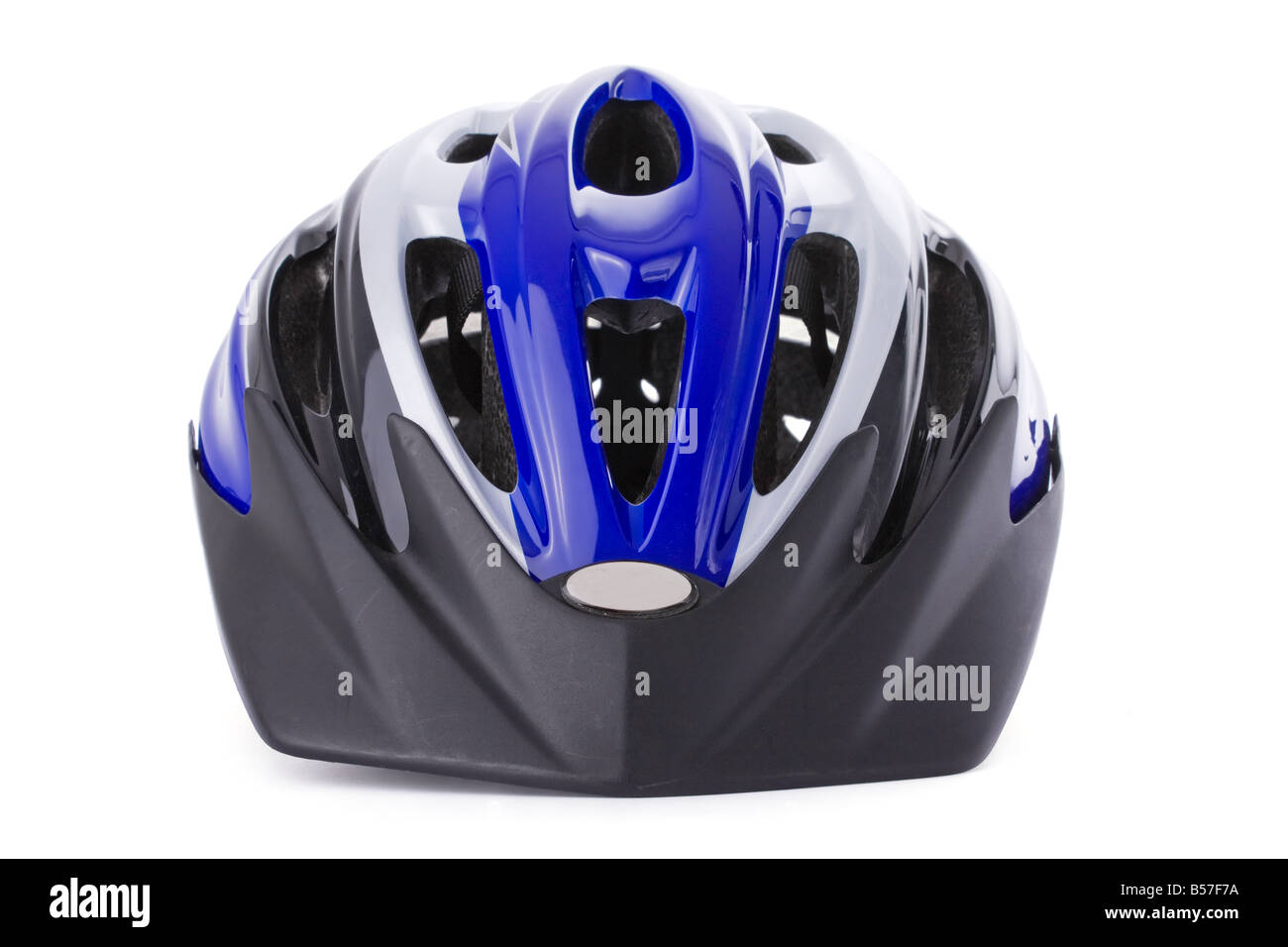 Cycling helmet isolated on white background /// bike bicycle cut out cutout equipment mtb mountain biking head protection - Stock Image