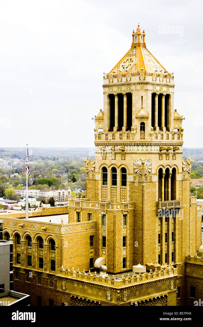 The carillon atop the Plummer Building at Mayo Clinic as