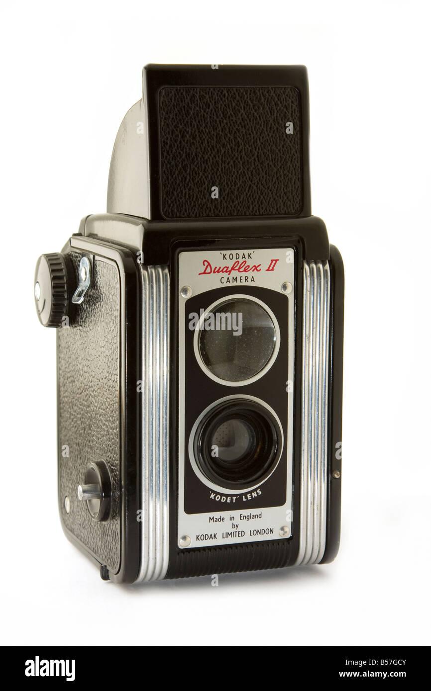 Old Rangefinder Kodak Camera on a White Background. - Stock Image