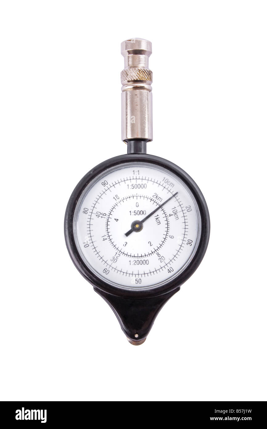 Analogue map measurer isolated on a white background - Stock Image