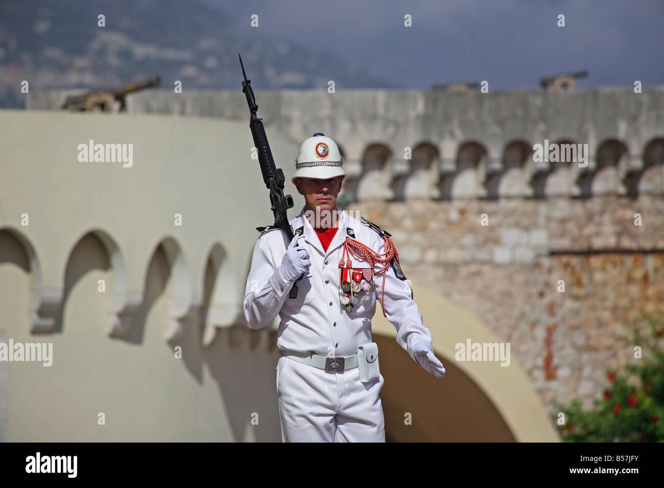 Guard in front of the Royal Palace, Place du Palais, Monaco Ville, Monaco - Stock Image