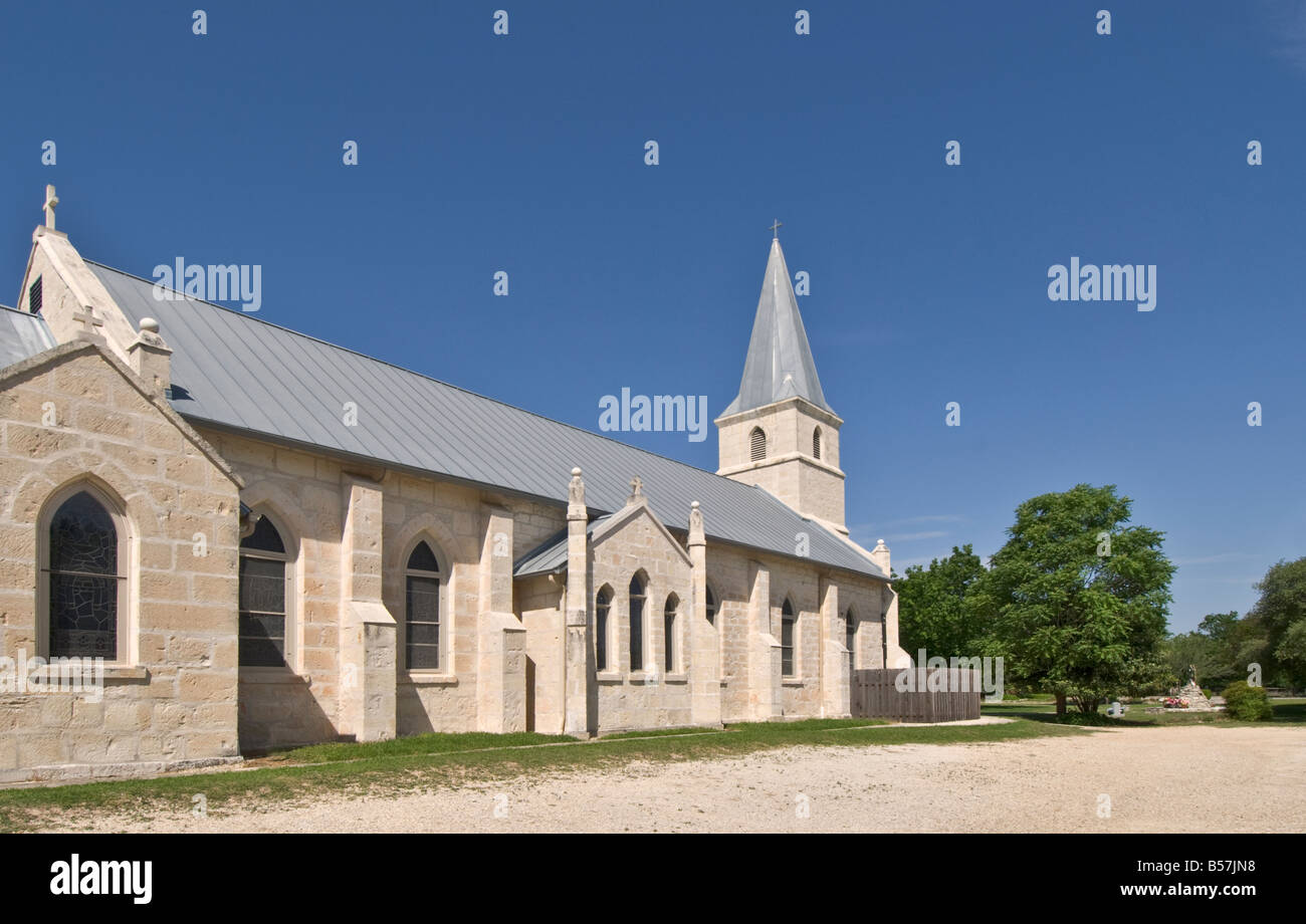 Texas Hill Country Bandera Saint Stanislaus Roman Catholic Church built 1876 - Stock Image