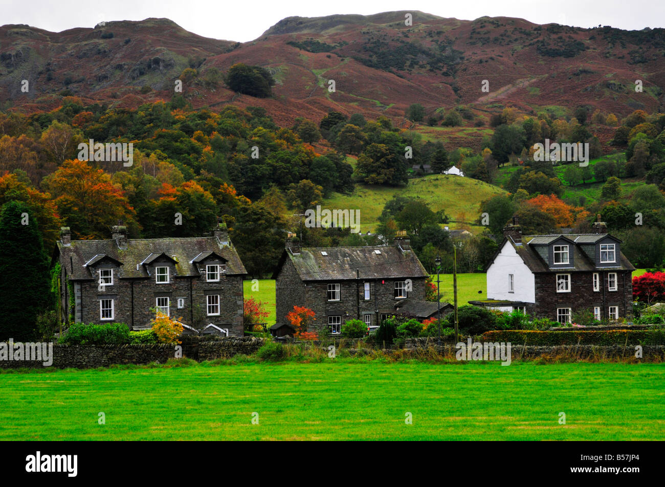 houses in grasmere village seen from A591 - Stock Image