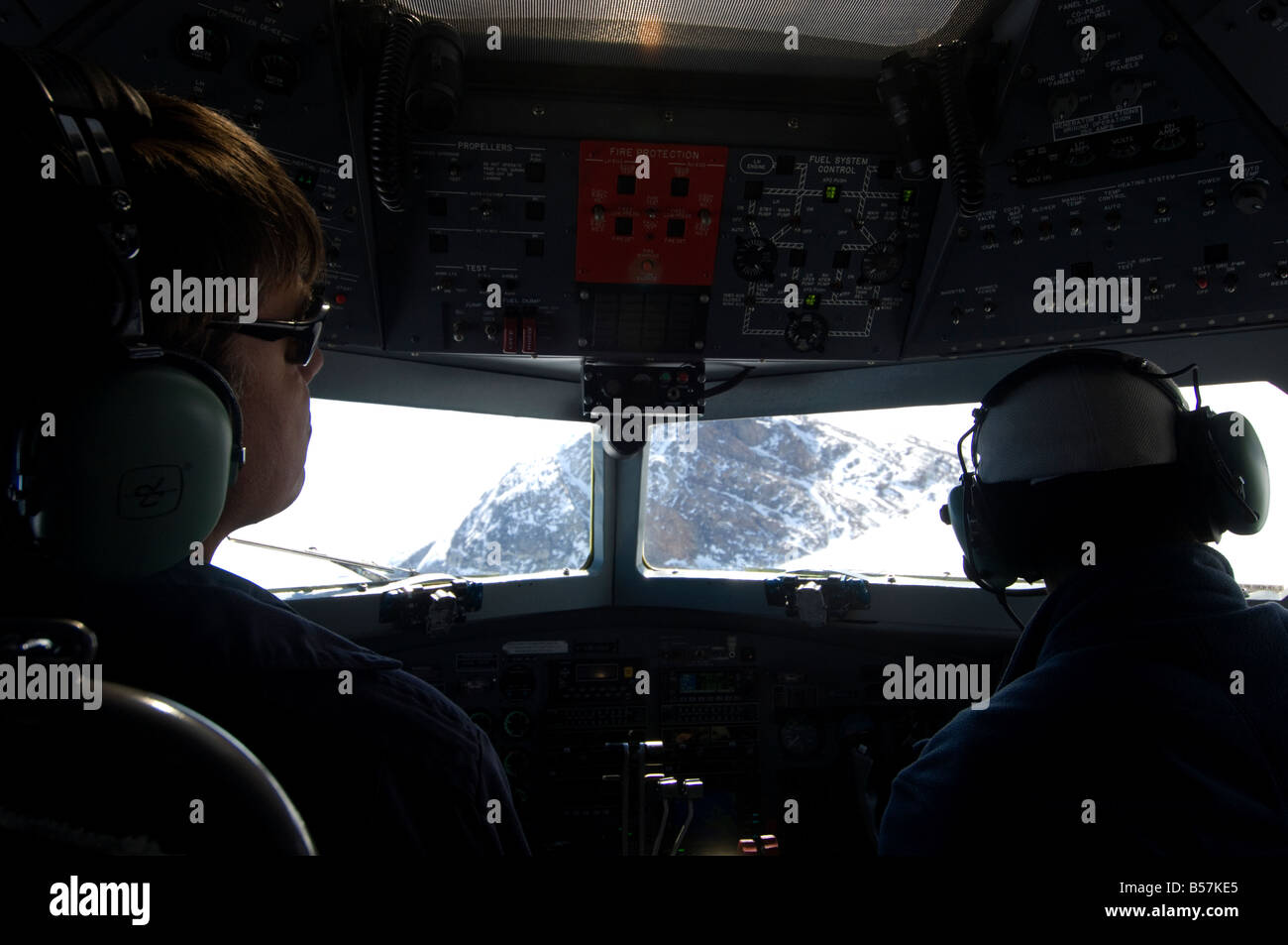 Captain Brian at controls of DC3 ellesmere island - Stock Image