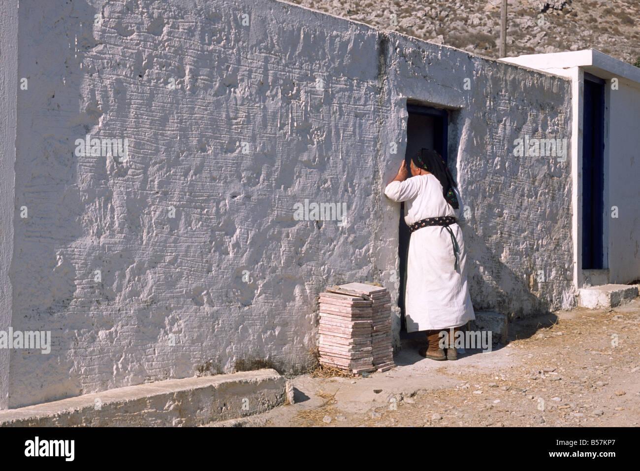 greece, dodecanese islands, karpathos, avlona, greek woman Stock Photo