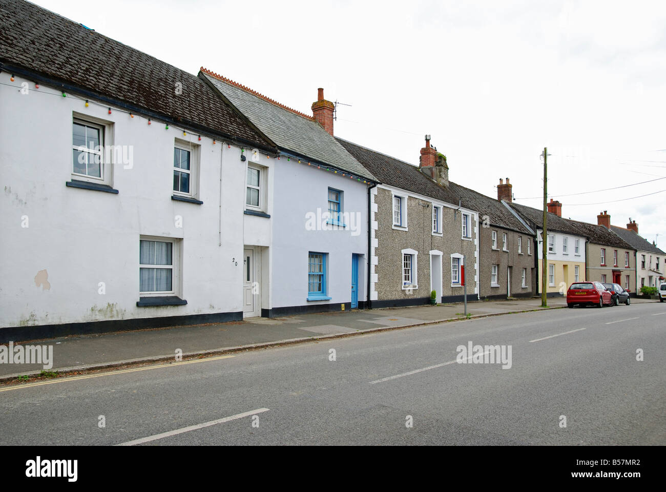 traditional cornish cottages in the main street at tregony in cornwall,uk Stock Photo