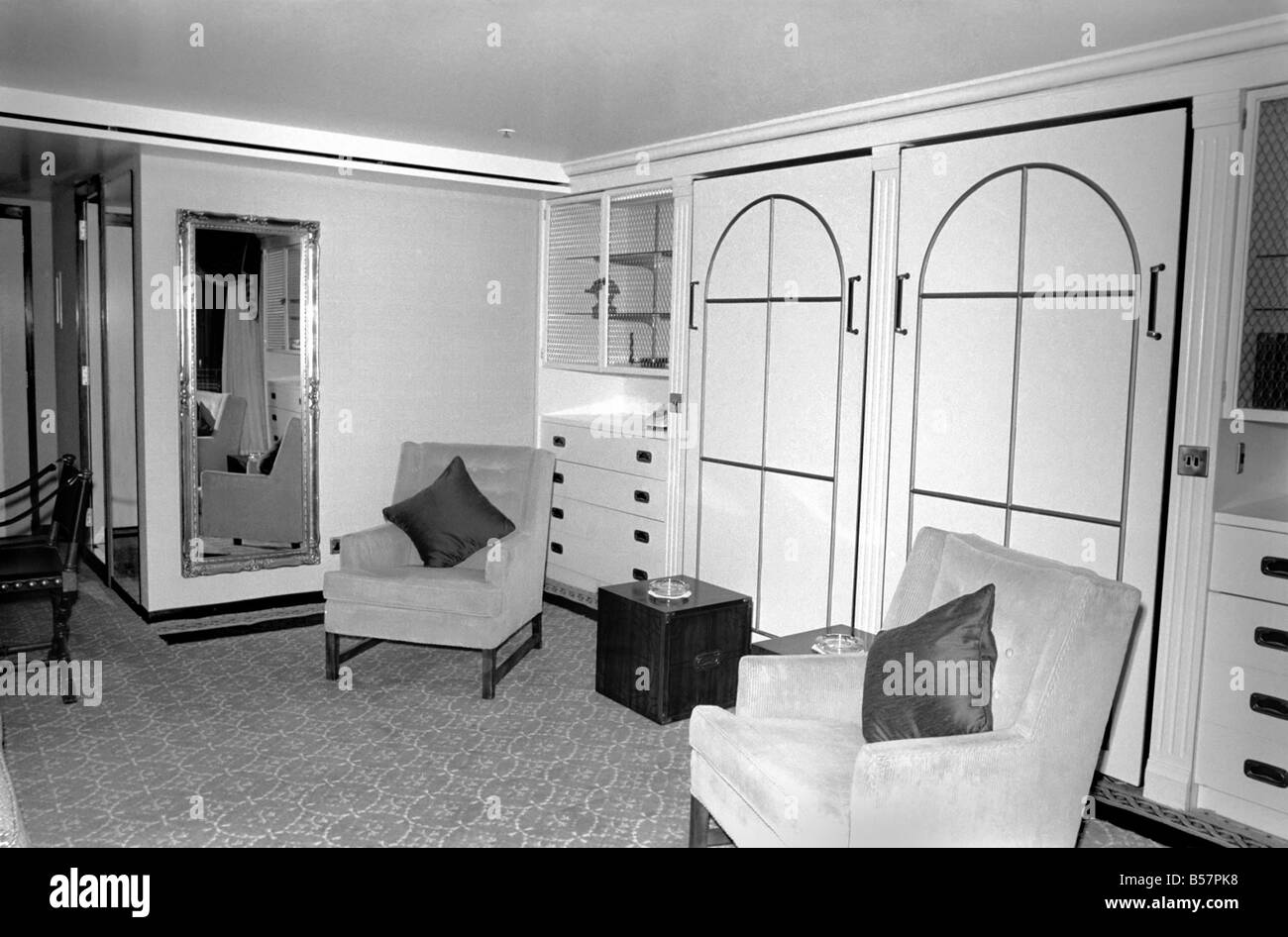 Interior view showing one of the cabin living rooms aboard the ...