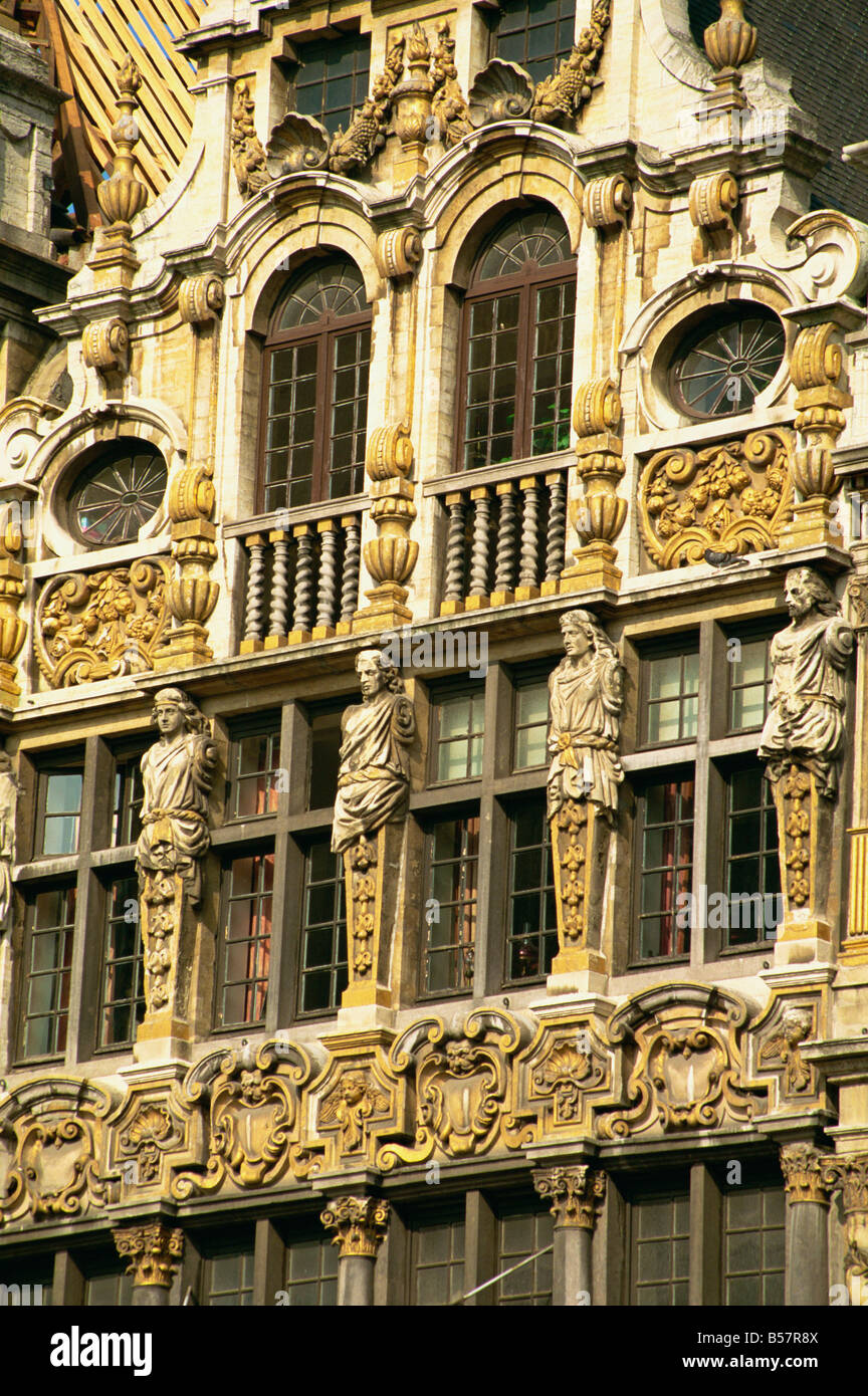 Gilded facade of Guild House Grand Place UNESCO World Heritage Site Brussels Belgium Europe - Stock Image