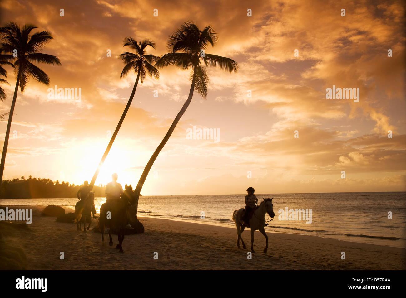 Las Terrenas at sunset, Samana Peninsula, Dominican Republic, West Indies, Caribbean, Central America - Stock Image