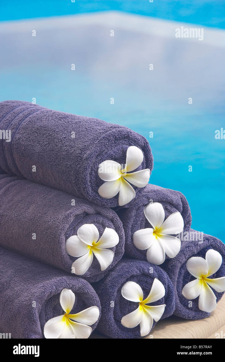 Towels on the swimming pool, Maldives, Indian Ocean, Asia - Stock Image
