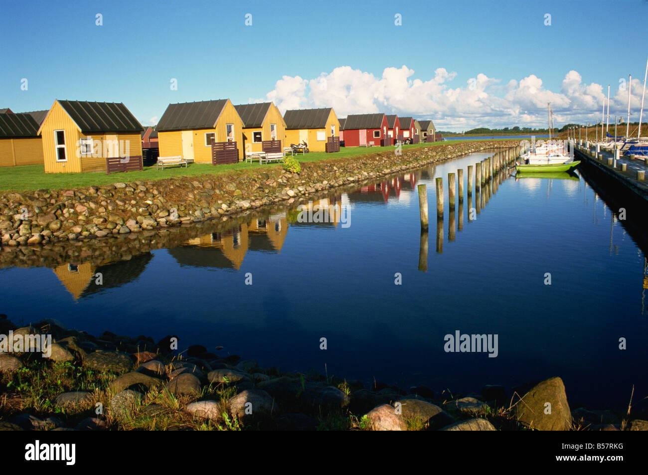 Marina and youth hostel cabins Aalborg north Jutland Denmark Scandinavia Europe - Stock Image