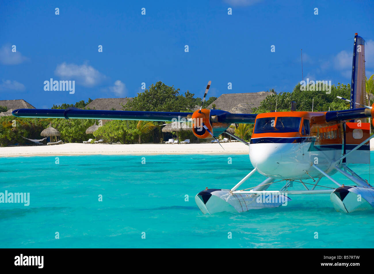 Maldivian Air Taxi parked in a resort in Maldives, Indian Ocean, Asia - Stock Image