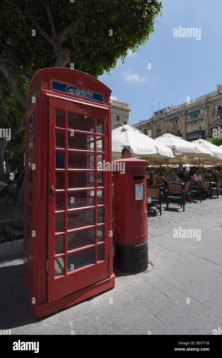 British telephone box and post box, Valletta, Malta, Europe - Stock Image