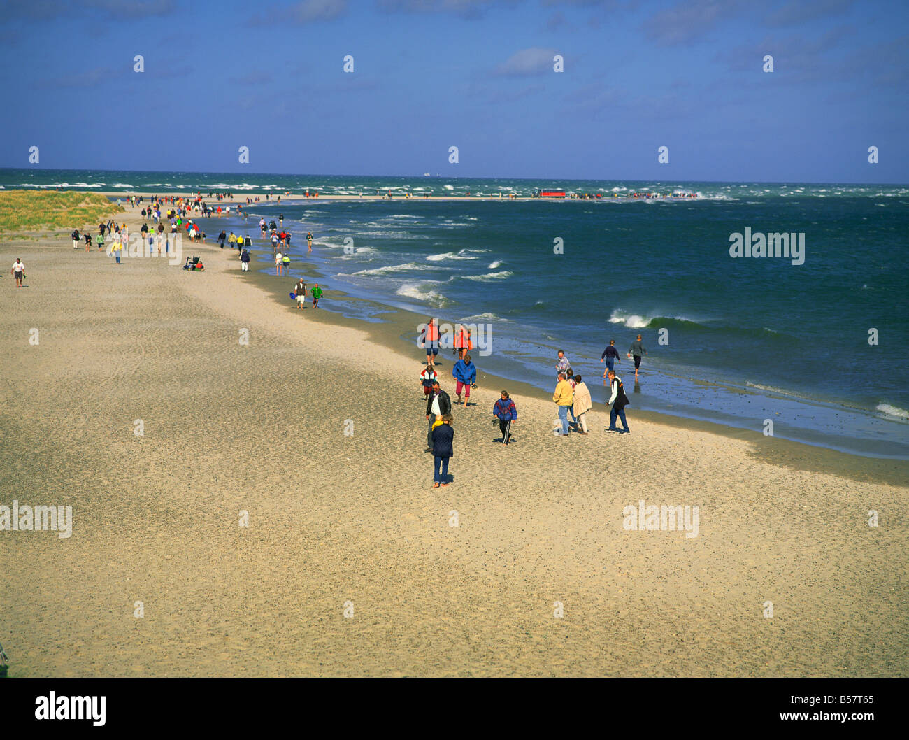 Beach and sandspit at meeting of Kattegat and Skagerrak seas Grenen northern tip of Jutland Denmark Scandinavia - Stock Image
