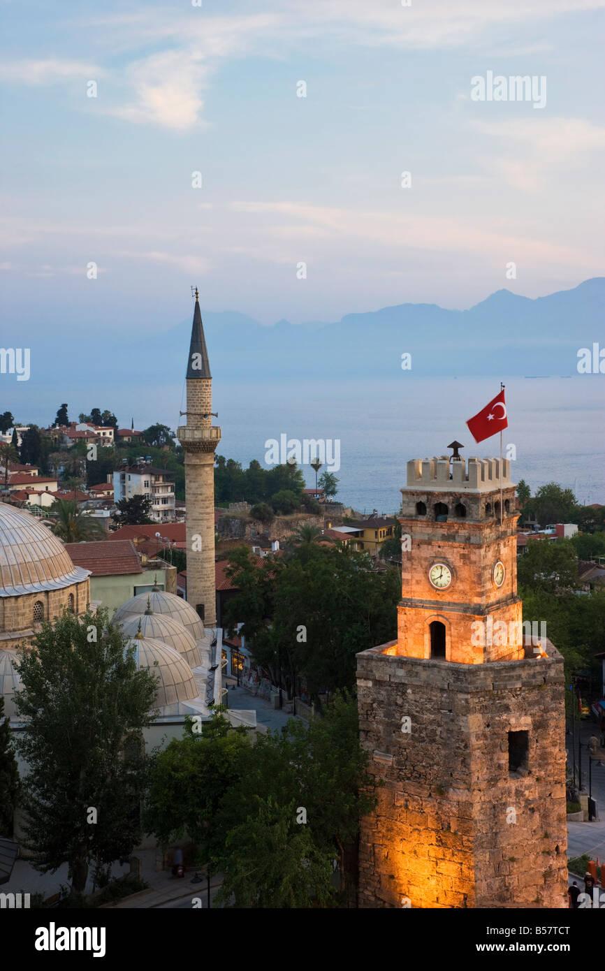 Clocktower (Saat Kulesi) and Tekeli Memet Pasa Mosque in the historic district of Kaleici, Antalya, Anatolia, Turkey - Stock Image