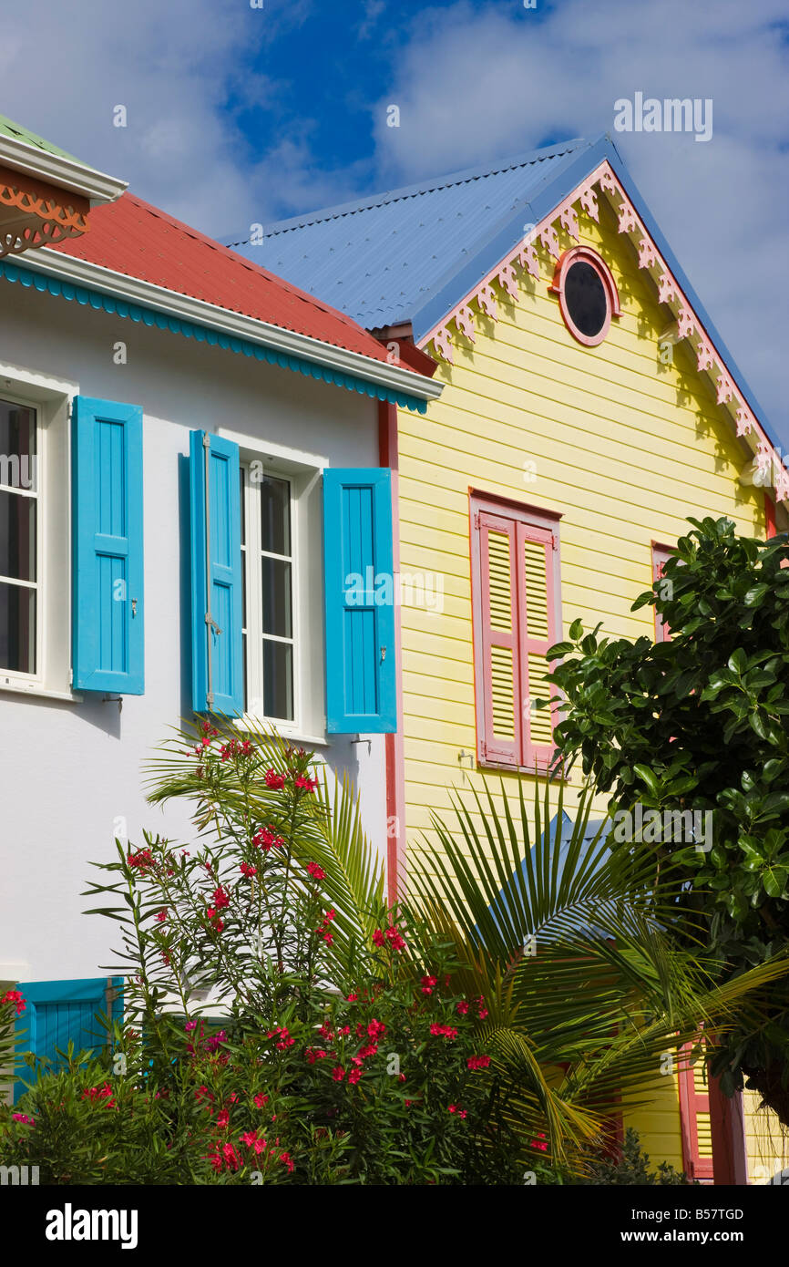 Colourfully painted buildings at Orient Beach, St. Martin (St. Maarten), Leeward Islands, West Indies, Caribbean - Stock Image