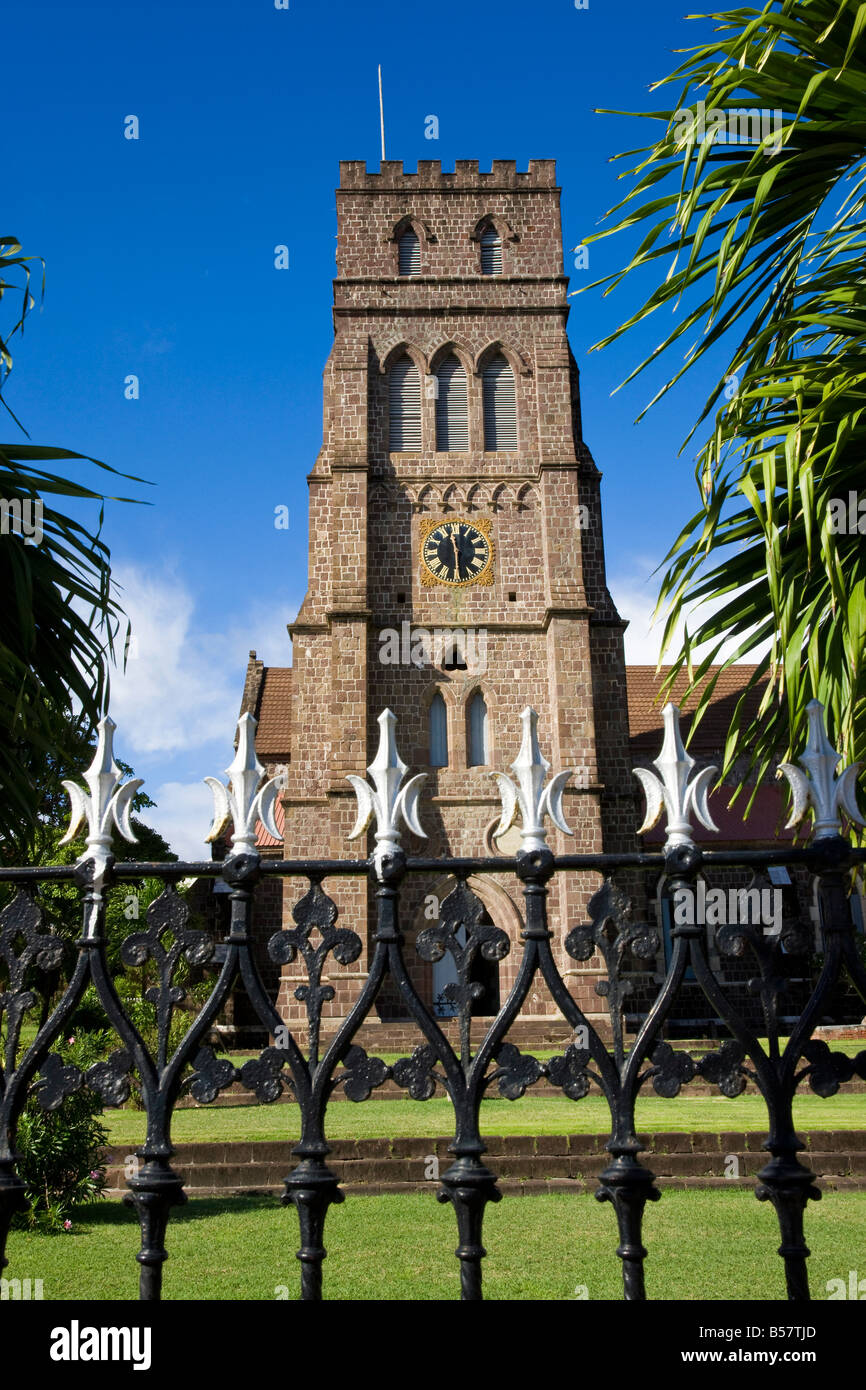St. George's Anglican Church, Basseterre, St. Kitts, Leeward Islands, West Indies, Caribbean, Central America - Stock Image