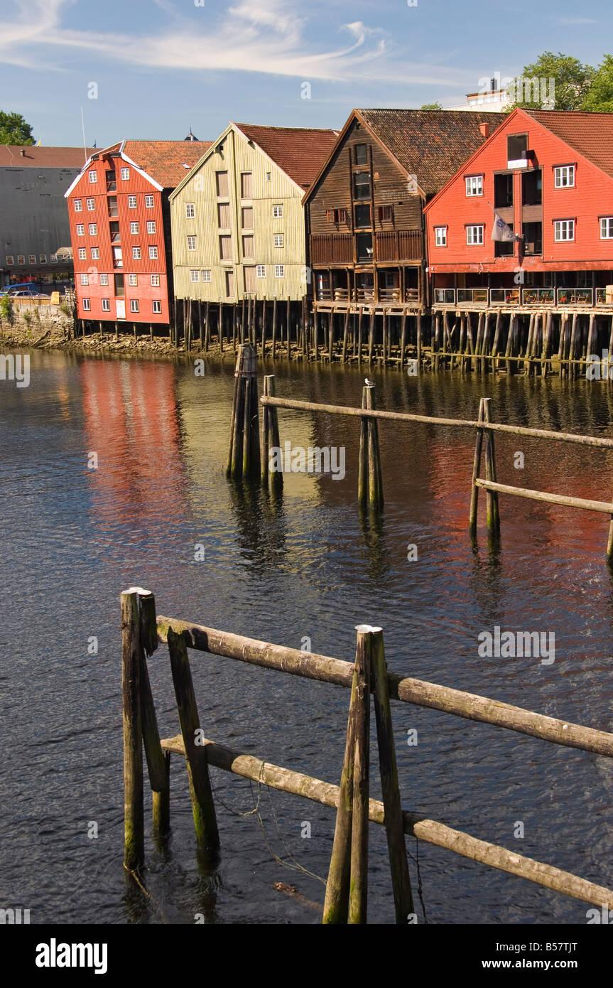 Merchants warehouses along the Nidelva, Trondheim, Norway, Scandinavia, Europe - Stock Image