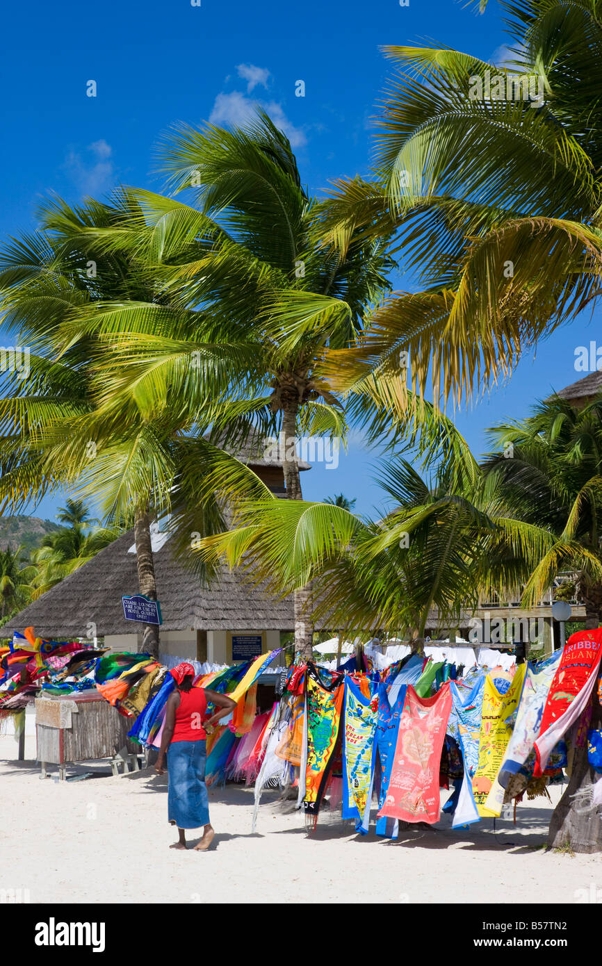 Colourful designs for sale along Jolly Beach, Antigua, Leeward Islands, West Indies, Caribbean, Central America - Stock Image