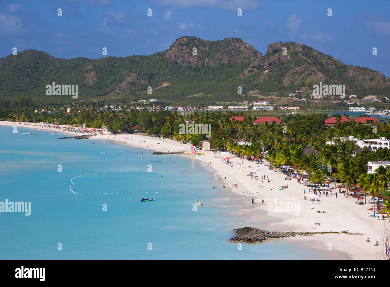 Elevated view over Jolly Harbour and Jolly Beach, Antigua, Leeward Islands, West Indies, Caribbean, Central America Stock Photo