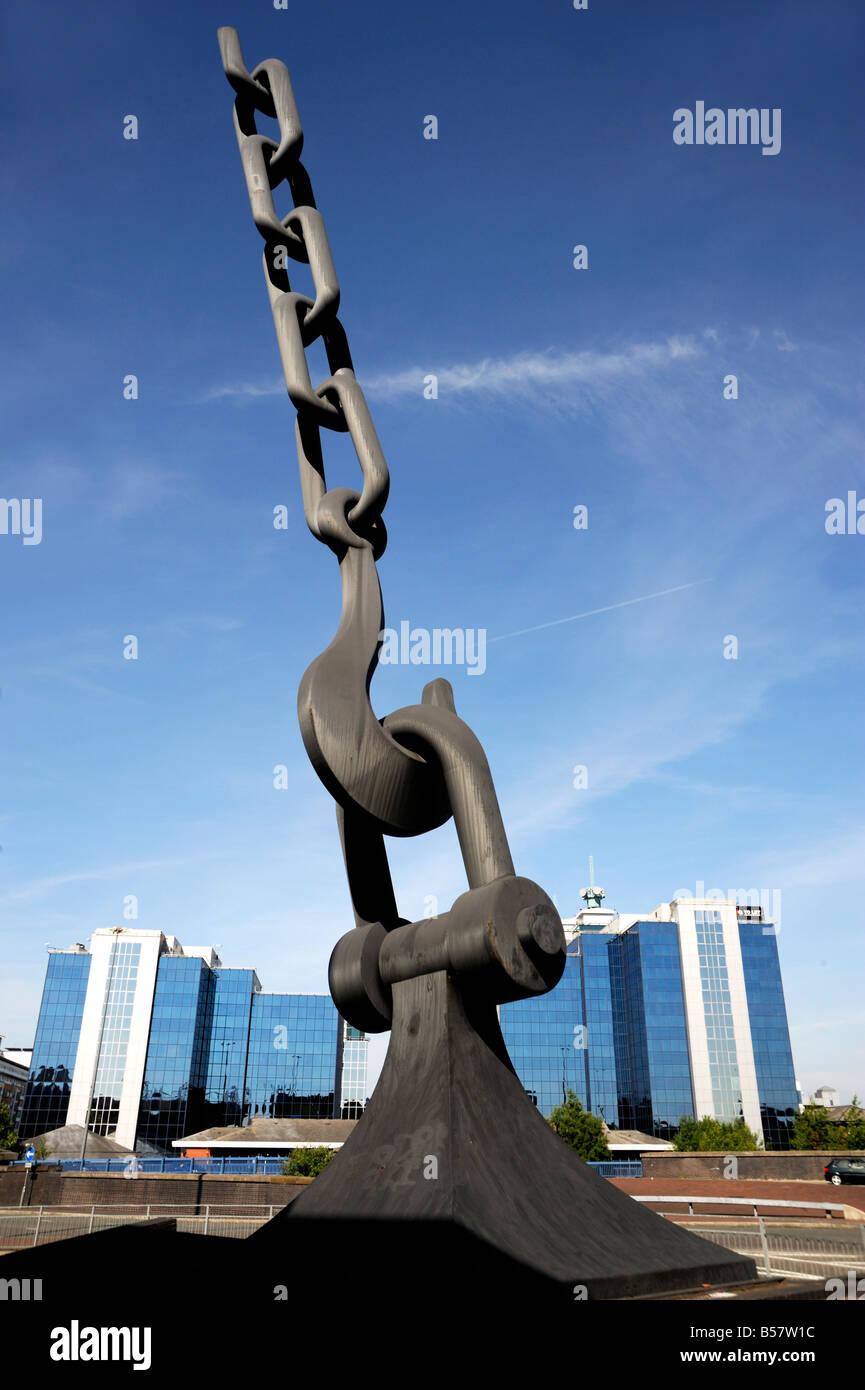 Sky Hook sculpture, Trafford Park, Manchester, England, United Kingdom, Europe - Stock Image