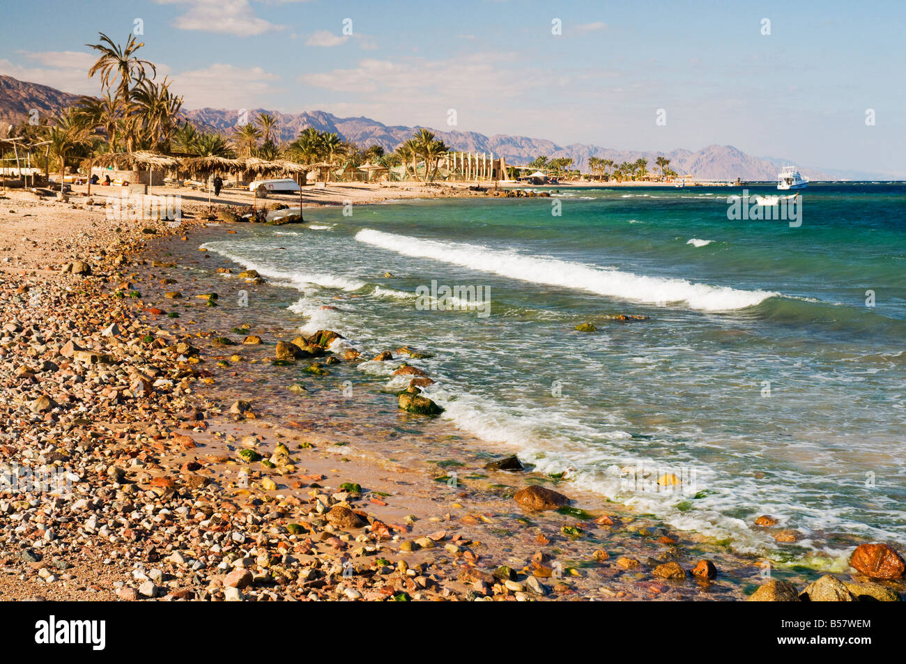 Beach and Gulf of Aqaba, Nuweiba, Sinai, Egypt, North Africa, Africa - Stock Image