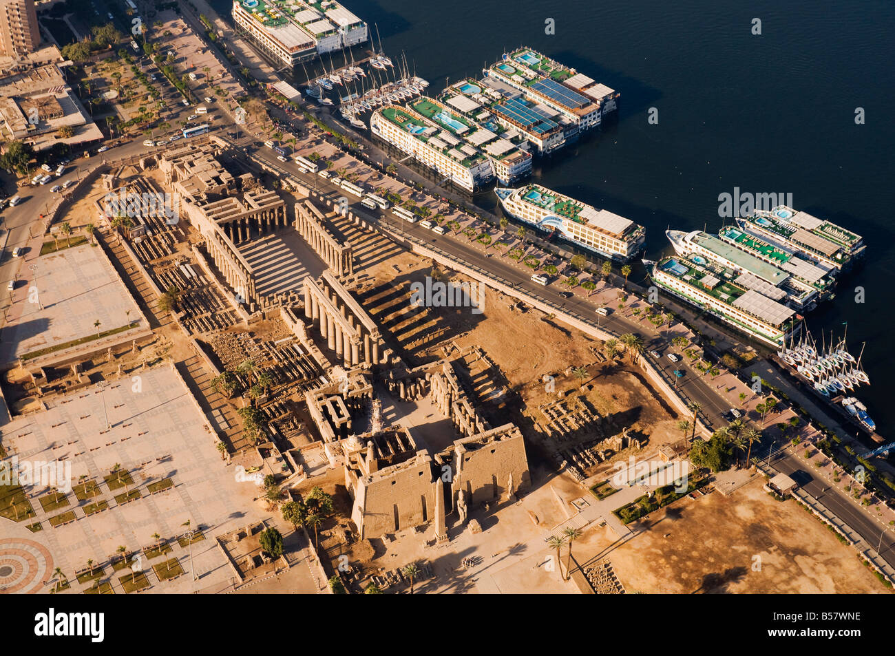 Aerial View Of Luxor Temple And The River Nile, Luxor