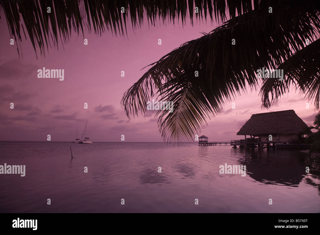 People in beach bar near the Moorings at sunset, Placencia, Belize, Central America - Stock Image