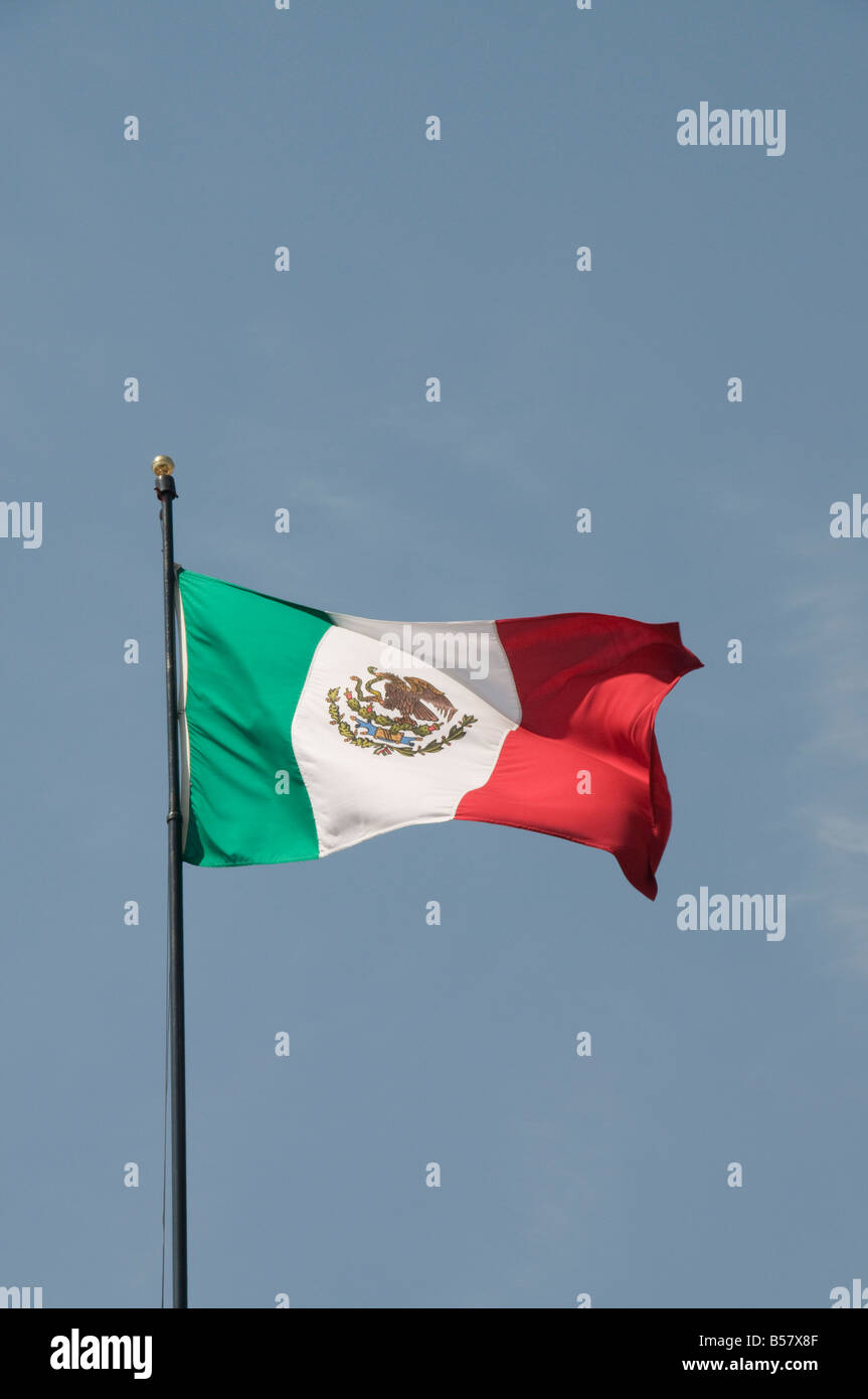 Mexican flag, Queretaro, Queretaro State, Mexico, North America - Stock Image